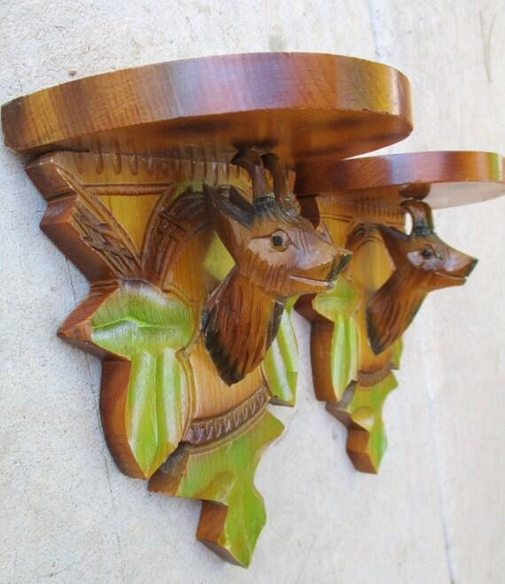 Vintage Black Forest Deer Head Carving Wall Shelf Sconces Folk