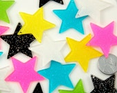 Resin Star Charms - 35mm Bright Shimmer Star Charms Acrylic or Resin Glitter Pendants - 6 pc set