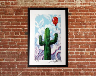 Guilty pleasures cactus art,signed numbered print,arizona art,southwest art,lowbrow art,graffiti urban art,love art,college art wall decor