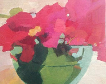 Daily painting original acrylic clorful pink bougainvillea aqua green blue floral still life daily painting 6 x 6 on canvas panel