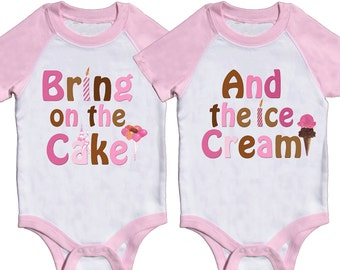 Twin Girls Birthday Bodysuits Twins 1st Birthday Outfits Twin Boy Birthday Rompers Twins first birthday