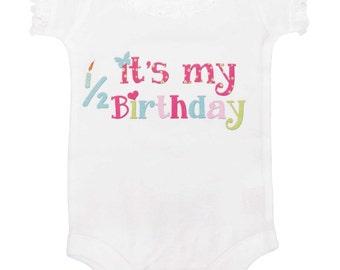 6 Month Birthday Bodysuit Girl One Piece by Mumsy Goose Half Birthday Romper