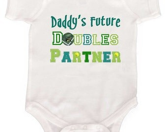 Funny Tennis Baby Bodysuit by Mumsy Goose Newborn Baby One Piece Kids Tennis T Shirt Fathers Day and New Dad Gift Dads Tennis Partner