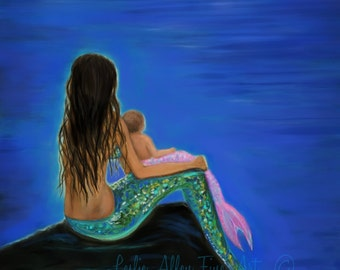 "Mermaid Art Mermaid Painting Mermaids Art Baby Nursery Wall Art Print Decor Mother Daughter Mermaids ""Beautiful Mermaid Baby"" Leslie Allen"