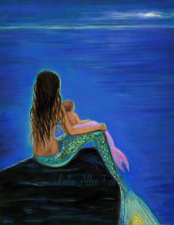 """Mermaid Art MermaidPainting Mermaids Art Baby Nursery Wall Art Print Decor Mother Daughter Mermaids """"Beautiful Mermaid Baby"""" Leslie Allen"""