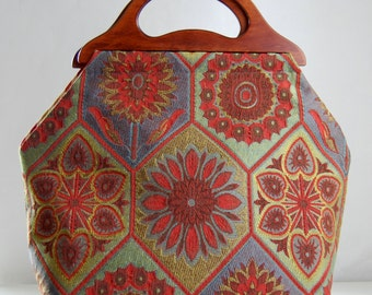 Stained Glass Floral Large Craft Project Tote/ Knitting Tote Bag - READY TO SHIP