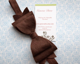 NEW-Chocolate Brown Felt Bow Stretch Headband