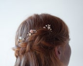 Bridal wire hair pins, Blush and gold wedding picks, Pink Freshwater Pearl and crystal on wire branches, Wire wrapped beaded wedding hairpin