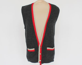 60's Sweater Vest / Vintage Mens / Gray & Red / Button Front / XSmall to Small