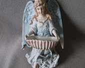 Lovely Antique Figural Angel Porcelain Holy Water Font