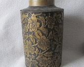 Pretty 19thC Antique Embossed Tin Tea Caddy, Canister