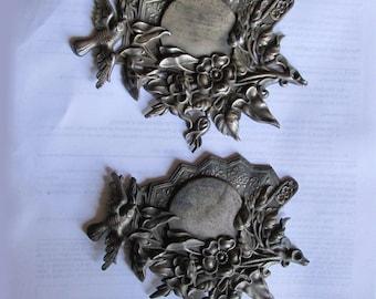 Pair 19thC Victorian Bird, Fan & Flower Ornaments