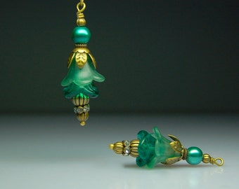 Vintage Style Bead Earring Dangles Hand Dyed Matte Satin Teal Green Lucite Flower Pair