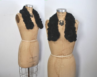 RABBIT Fur Collar / black vintage Scarf