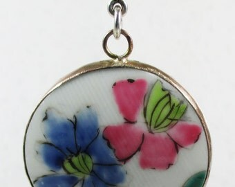 Ming Dynasty Porcelain Shard with Pink and Blue Flower Motif - 40mm - Silver Plated Bezel Setting - LOT 931