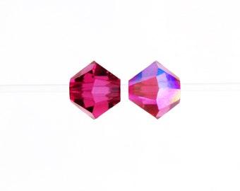 FUCHSIA AB 4mm Bicones, Swarovski Crystal Beads, Article 5301/5328, || sku 5301.4.070