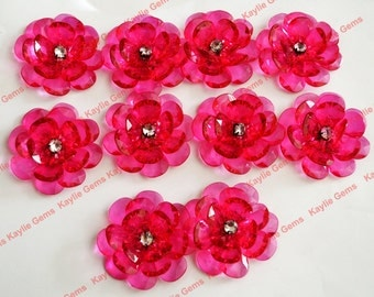 Sale - Large 8pcs 50mm Focal Acrylic Rose Blossom Flower Pendant  - Fusha