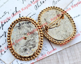 Vintage Antique Gold Oval 30x40mm Lace Edge Beaded Base Cabochon Setting Safty Pin Brooch Pinback, Old Stock Made in West Germany- 1pcs