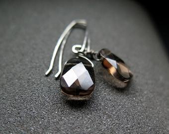 smoky quartz earrings. hypoallergenic jewelry. niobium earwires.