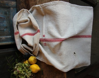 Nr. A355: grainsack,  antique linen;  FRENCH RED pillow benchcushion; 46.46long;  wedding decoration; christmas, thanksgiving