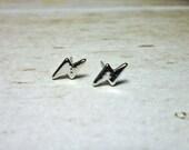 Mini Lightning Bolt Earrings, Dainty Earrings