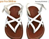 20% OFF White/Brown Mix Leather Sandals for Men & Women