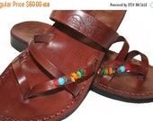 20% OFF Brown Decor Moon Leather Sandals for Men & Women - Handmade Sandals, Leather Flats, Flip Flops, Unisex Sandals, Brown Leather Sandal