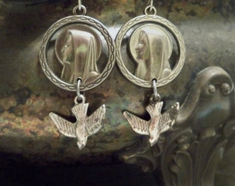 Rosary necklace medals reclaim into earrings - Holy Spirit Dove & Mary medal - One of a Kind bycat