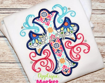 Machine Embroidery Design Embroidery Cross Swirls Applique INSTANT DOWNLOAD