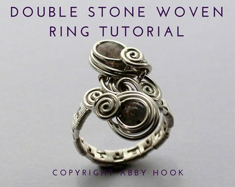 Double Stone Woven Ring, Wire Jewelry Tutorial, PDF File instant download