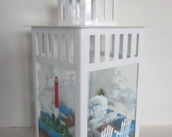 Beach Chair and Light House Hand painted Metal Lantern