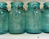 aqua ball jars, set of 4