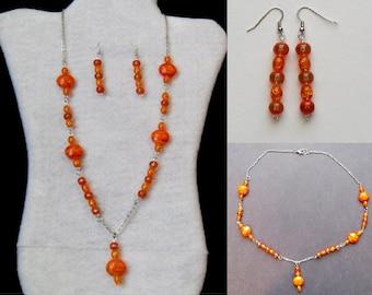 Necklace Set - Orange Swirl Pendant Necklace and Earrings