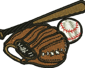 Baseball, bat and glove Machine embroidery design