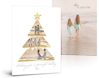Christmas Card Templates - Gold Foil Holiday - 5x7 Flat Press Printed Digital Photoshop Templates for Photographers & Scrapbookers.