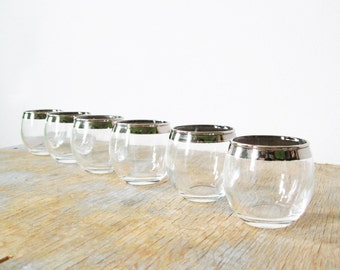 silver roly poly shot glasses, mad men style shot glasses, 60s barware
