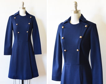 60s mod dress, vintage 1960s navy nautical dress, wool mod scooter dress, xs/s dress