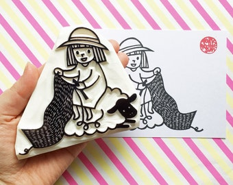 crochet rbber stamp. sheep and girl hand carved stamp. woodland stamp. craft stamp. diy christmas birthday scrapbooking. holiday crafts. XL
