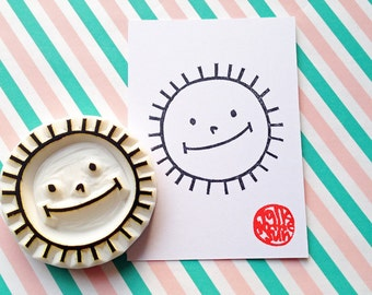 smiley sun stamp. sunshine hand carved rubber stamp. summer crafts. diy birthday baby shower scrapbooking. handmade stamps by talktothesun