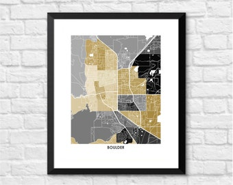 Boulder Map Print.  Choose your Color and Size.  Perfect Wall Art for your University of Colorado Buffalo.