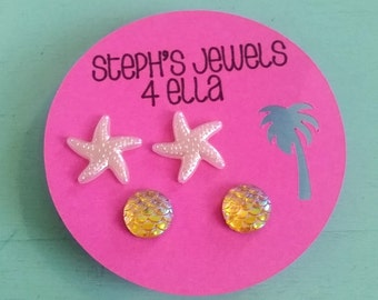 Beach Vacation Set Amber Iridescent Mermaid Sparkle Circle and Pearl Pink Starfish Earrings