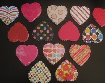 Cardstock paper hearts in many colors, gift tags, love notes, use for cards, make garlands, 24 hearts