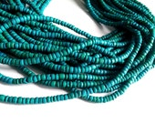Emerald green coconut bead 130 wood Beads - Coconut Rondelle Disk Beads 4-5mm  (PC219A)