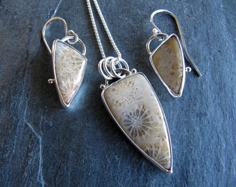 Fossil Coral Necklace and Earring Set in Sterling Silver