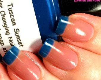 "NEW- Ombre Color Changing Thermal Nail Polish - ""Tuscan Sunset""-Blue to Peach - Temperature Changing - 0.5 oz Full Sized Bottle"