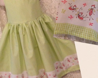 Green FireFlies * classic jumper style dress for girl CUSTOM SIZES 2 3 4 5 6 7 8 10 12 14 your choice - sewnbyrachel