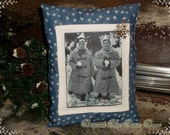 Winter Wonderland Pillow Vintage Photo Holiday Decor Christmas Shelf Sitter OOAK