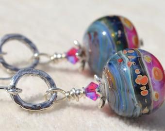 BLUE JEAN BLING-Handmade Lampwork and Sterling Silver Earrings