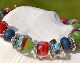 REFLECTIVE-Handmade Lampwork and Sterling Silver Bracelet