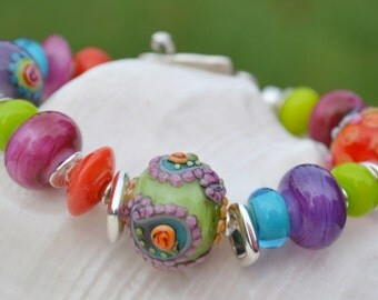 SASSY-Handmade Lampwork and Sterling Silver Bracelet